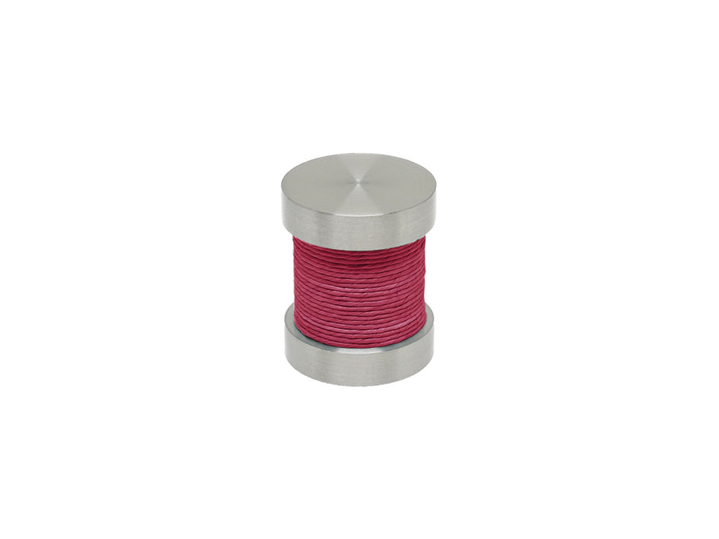 Hibiscus hot pink coloured twine groove finial | Walcot House 30mm stainless steel collection