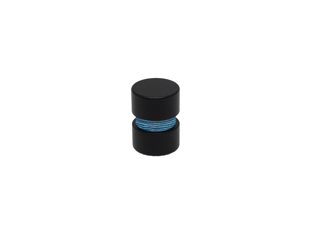 Blue lapis curtain pole finial, black groove, for 19mm diameter curtain pole
