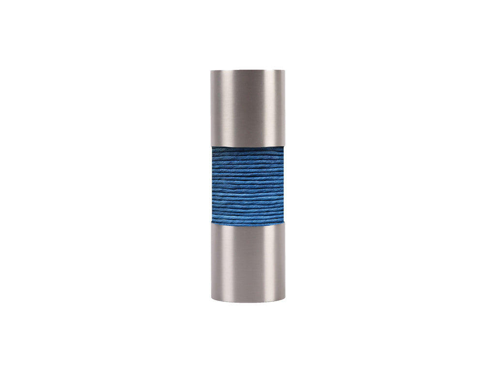 Lapis blue curtain pole finial, stainless steel barrel, for 19mm diameter pole