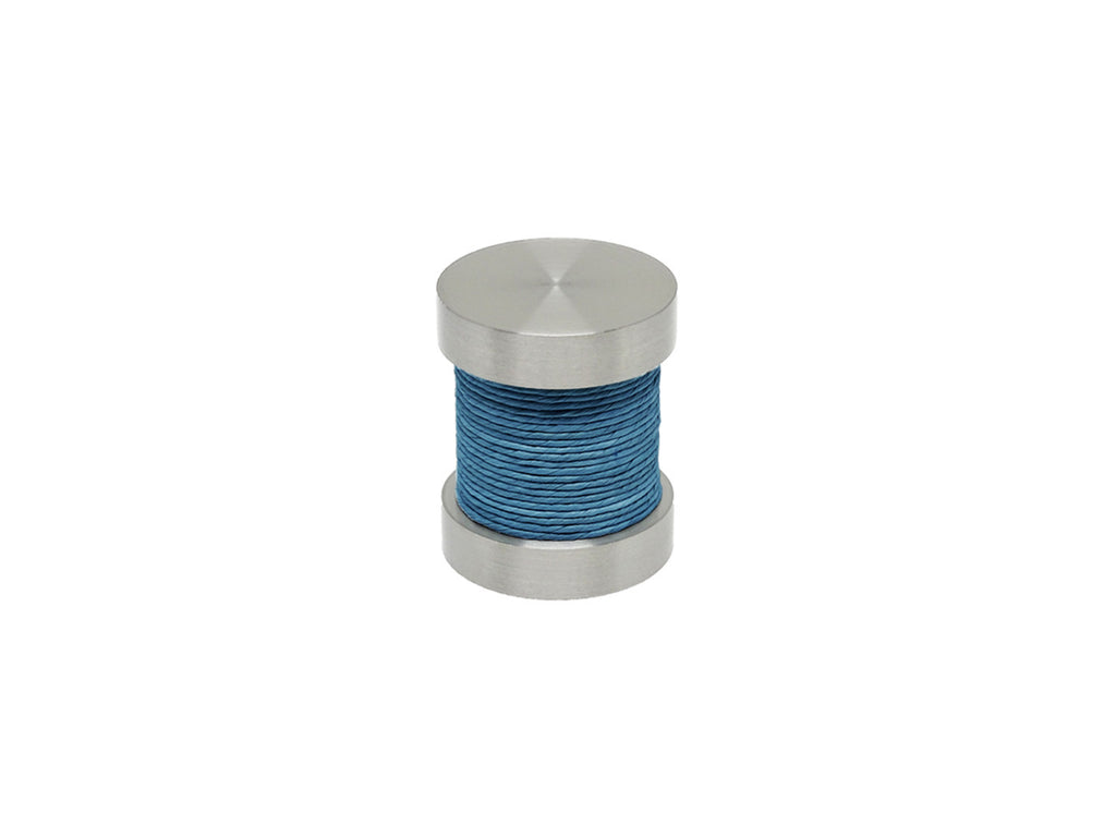 Lapis blue coloured twine groove finial | Walcot House 30mm stainless steel collection