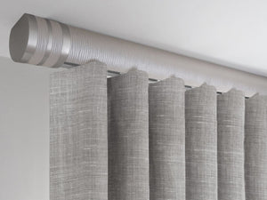 Flush ceiling fix curtain pole set in marcasite by Walcot House
