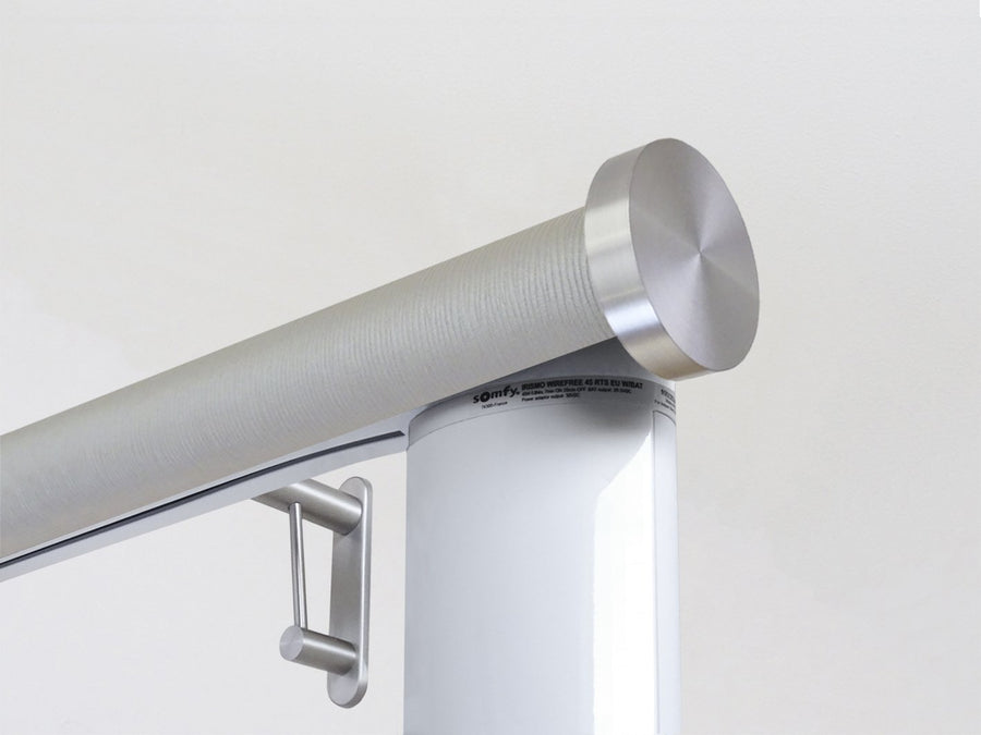 Motorised electric curtain pole in marcasite grey, wireless & battery powered using the Somfy Glydea track | Walcot House UK curtain pole specialists