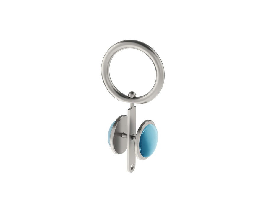 Pale aqua blue coloured glass moonstone rivet | Walcot House rivet curtain heading for 19mm poles