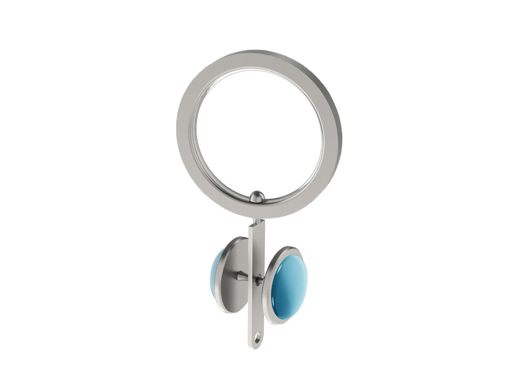 Pleating ring with large moonstone rivet for 30mm dia. curtain pole