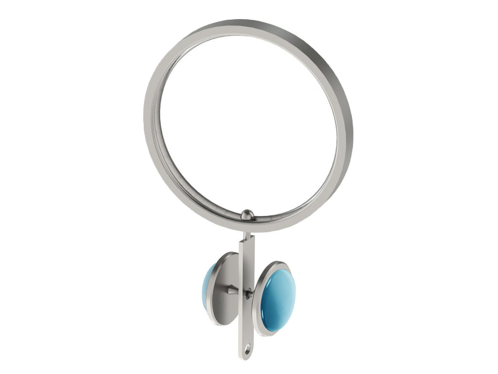 Mediterranean blue coloured glass moonstone rivet | Walcot House rivet curtain heading for 50mm poles