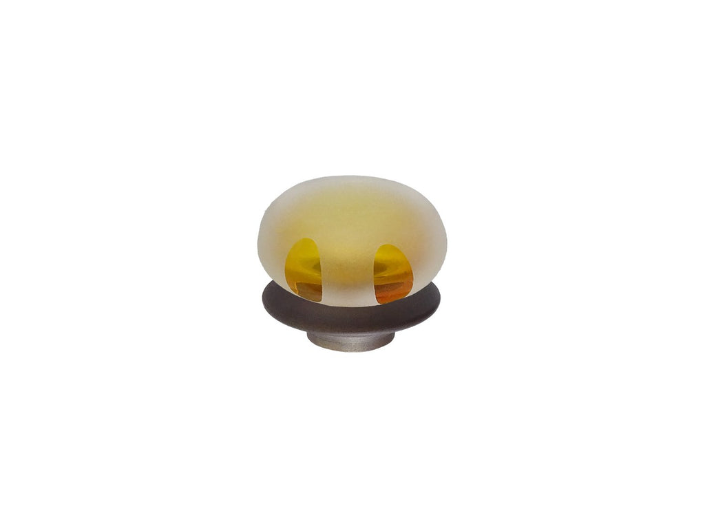 mini honey yellow glass lunar finial for 19mm diameter curtain poles