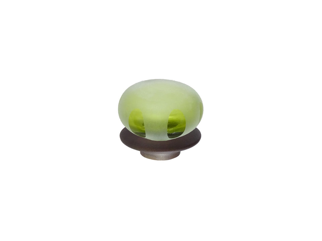 mini leaf green glass lunar finial for 19mm diameter curtain poles