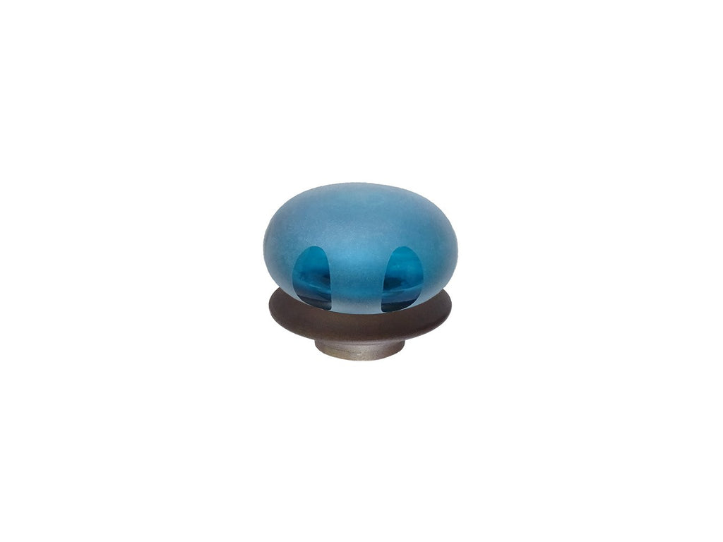 mini teal blue glass lunar finial for 19mm diameter curtain poles