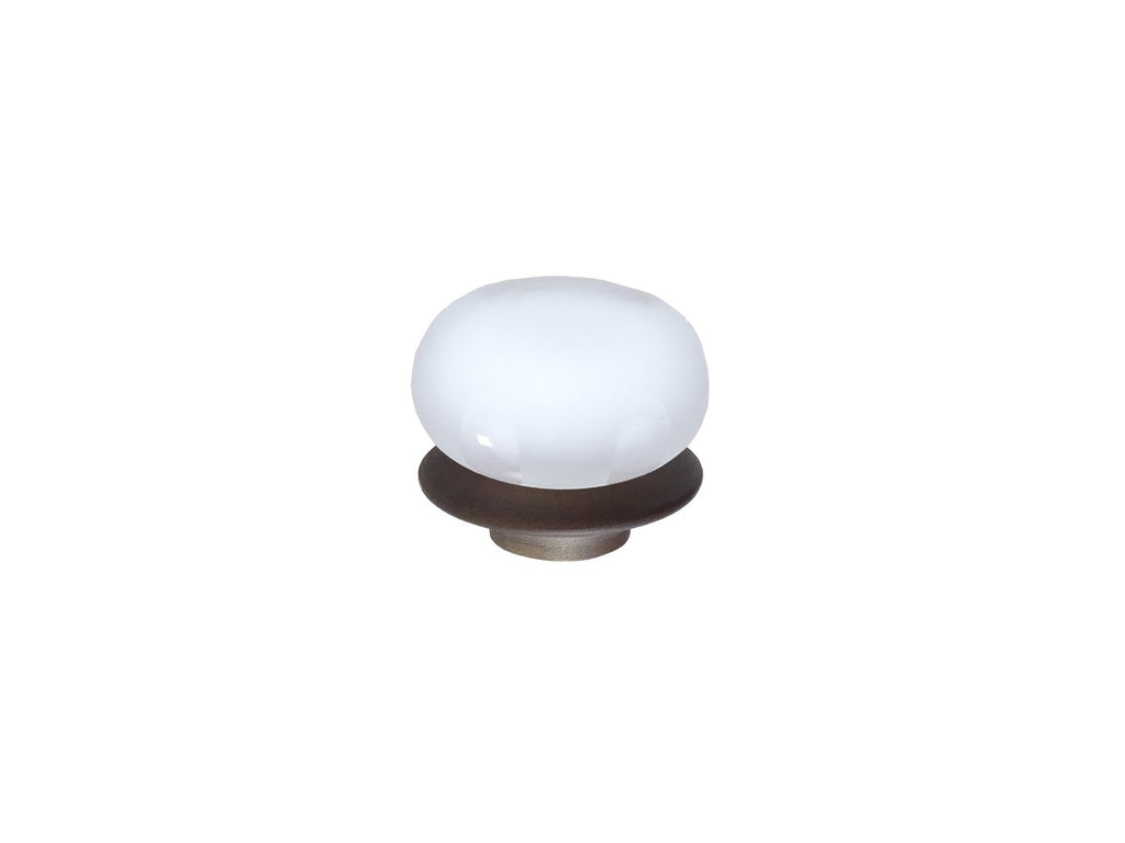 mini white glass lunar finial for 19mm diameter curtain poles