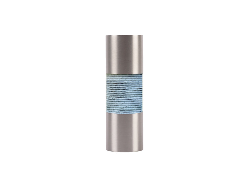 Mist blue curtain pole finial, stainless steel barrel, for 19mm diameter pole