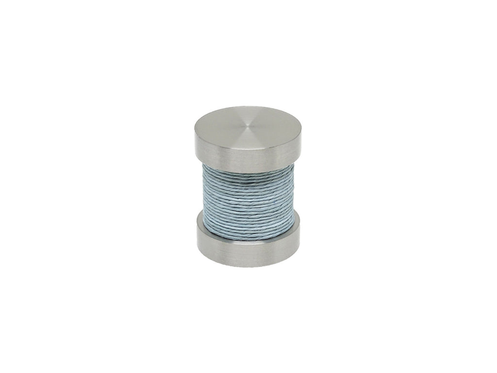 Mist blue coloured twine groove finial | Walcot House 30mm stainless steel collection