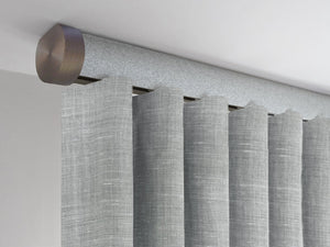 Flush ceiling fix curtain pole in moonlight blue by Walcot House