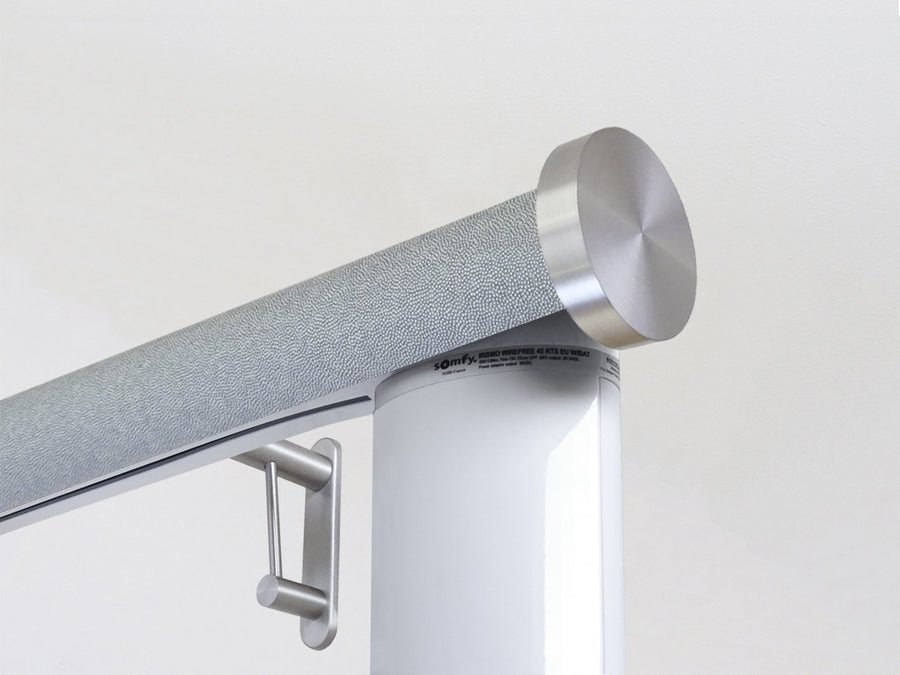 Motorised electric curtain pole in moonlight blue, wireless & battery powered by Somfy | Walcot House UK curtain pole specialists