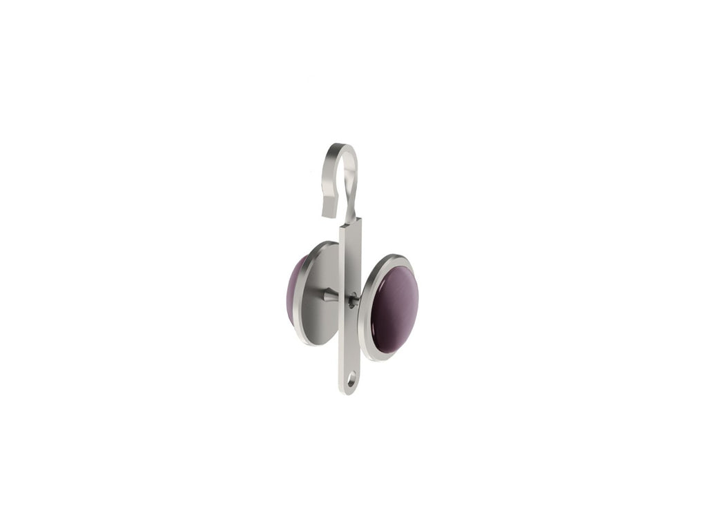 Mulberry purple coloured glass moonstone rivet | Walcot House rivet curtain heading for 50mm tracked poles