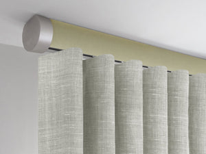 Flush ceiling fix curtain pole in green new acorn by Walcot House