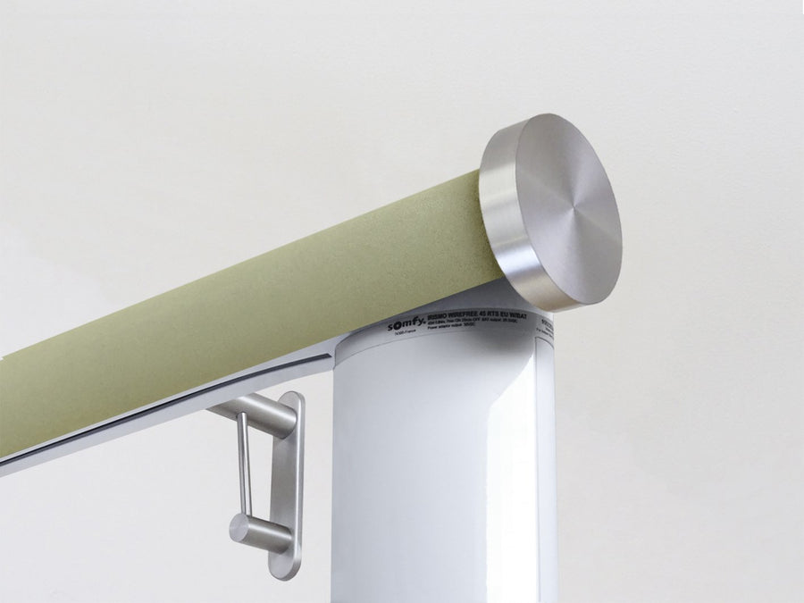 Motorised electric curtain pole in new acorn green, wireless & battery powered using the Somfy Glydea track | Walcot House UK curtain pole specialists