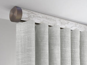 Flush ceiling fix curtain pole set in nordic white by Walcot House