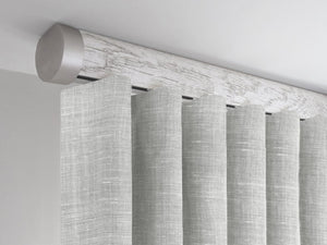 Flush ceiling fix curtain pole in nordic white by Walcot House