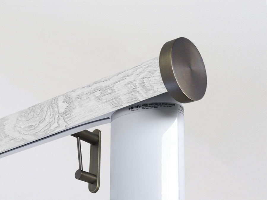 Motorised electric curtain pole in nordic white driftwood, wireless & battery powered using the Somfy Glydea track | Walcot House UK curtain pole specialists