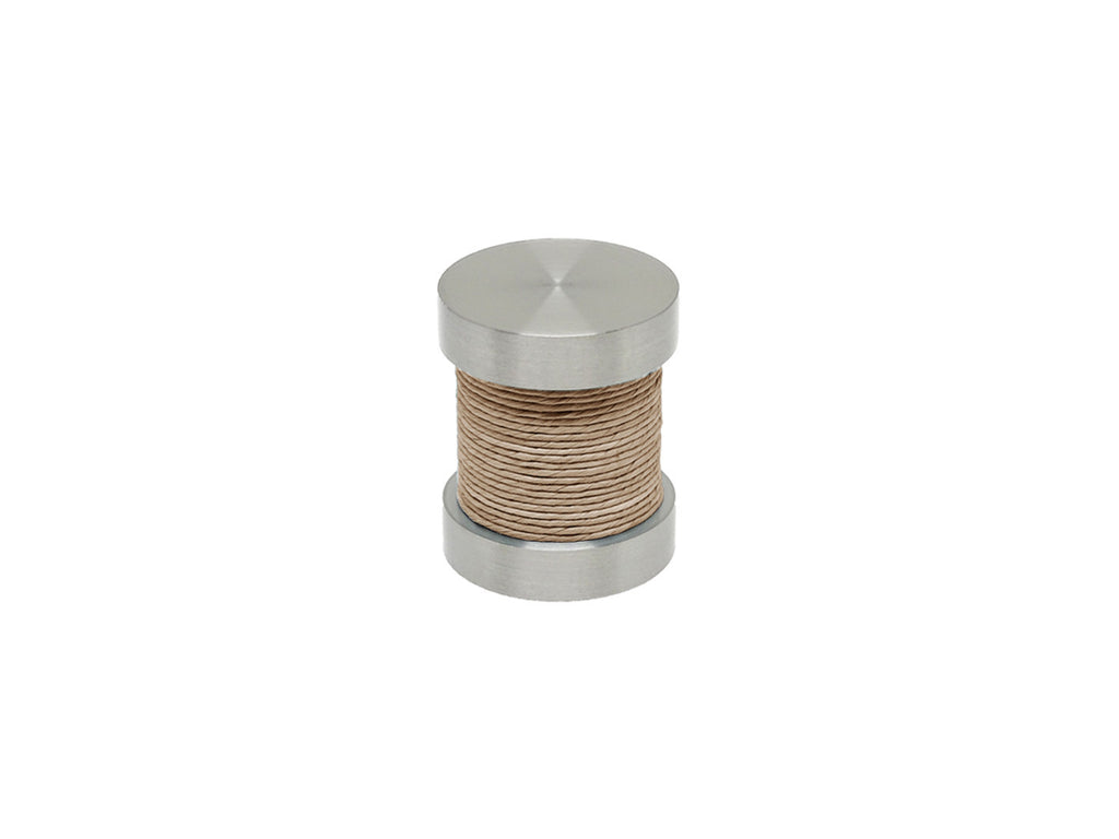 Natural Oat coloured twine groove finial | Walcot House 30mm stainless steel collection