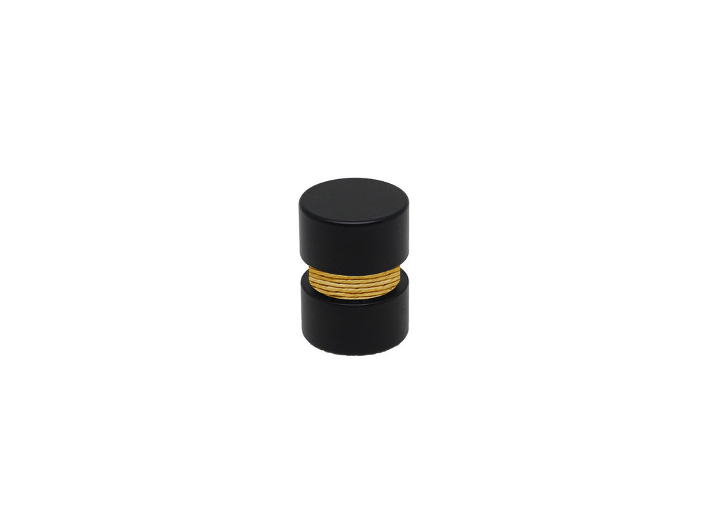 Ochre yellow curtain pole finial, black groove, for 19mm diameter curtain pole