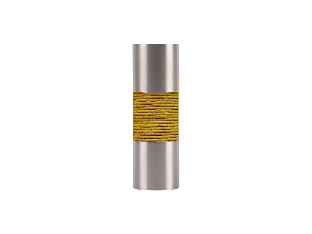 Ochre Yellow curtain pole finial, stainless steel barrel, for 19mm diameter pole
