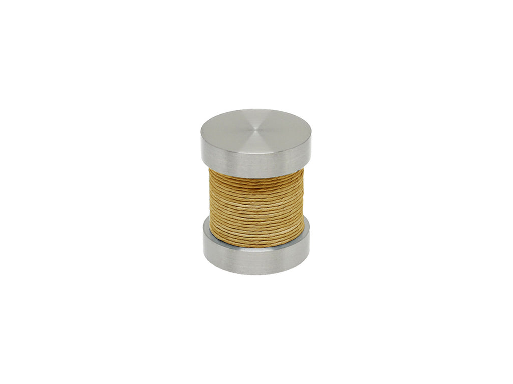 Yellow Ochre coloured twine groove finial | Walcot House 30mm stainless steel collection