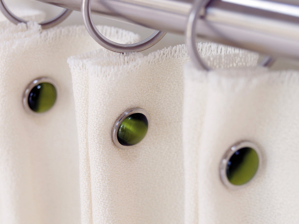 Olive green coloured glass moonstone rivet | Walcot House rivet curtain heading for 50mm poles