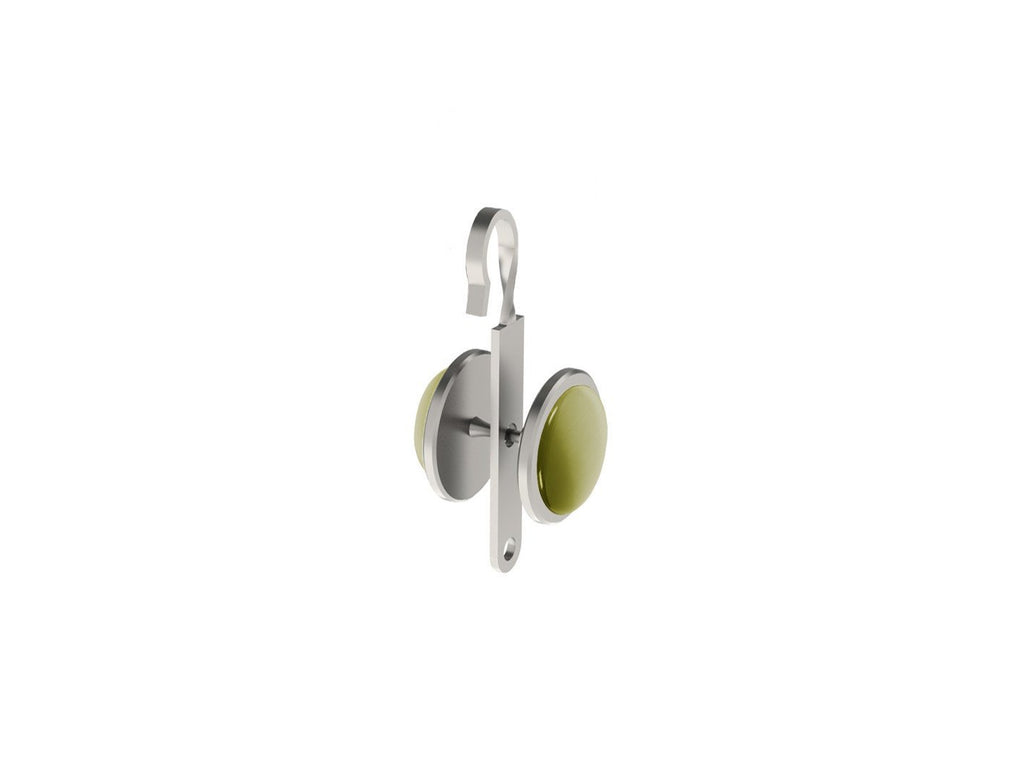 Olive green coloured glass moonstone rivet | Walcot House rivet curtain heading for 50mm tracked poles