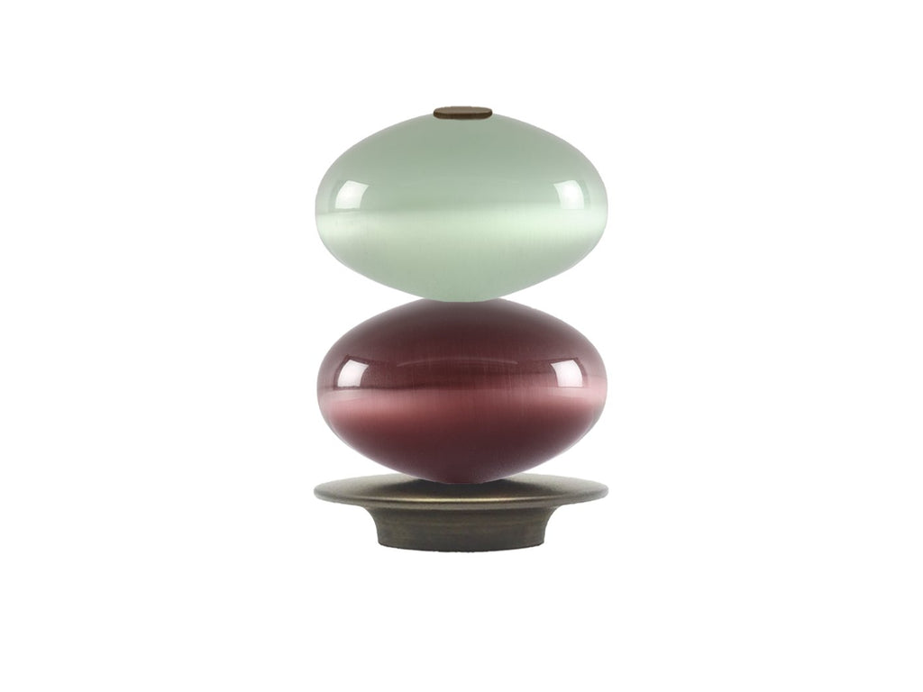 Glass double moonstone finial with brushed bronze collar for 30mm dia. curtain poles