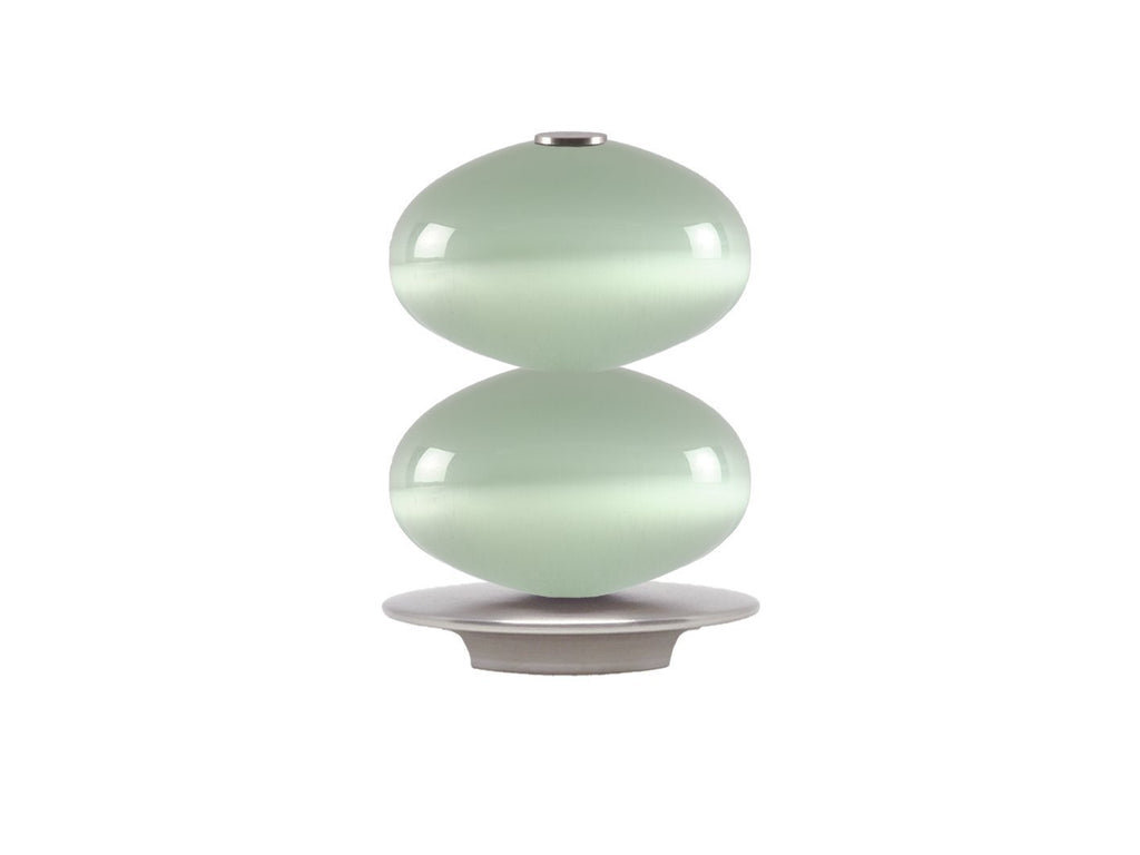 Glass double moonstone finial with stainless steel collar for 30mm dia. curtain poles