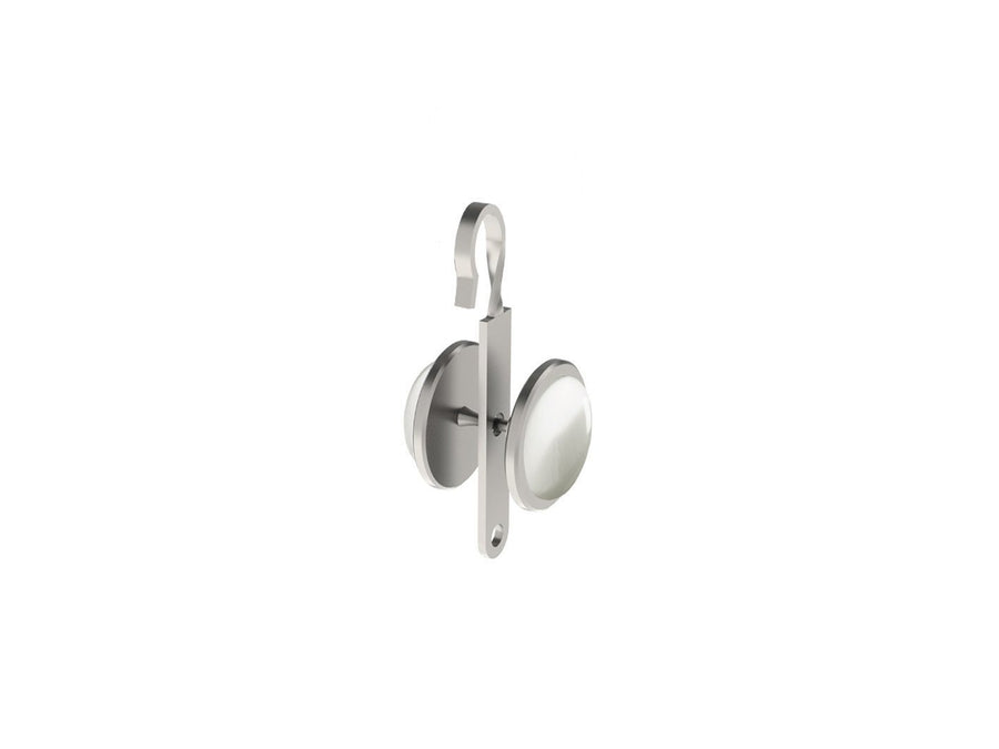Cloud grey coloured glass moonstone rivet | Walcot House rivet curtain heading for 50mm tracked poles