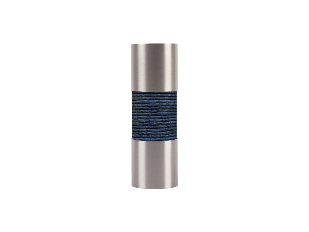 Orca blue curtain pole finial, stainless steel barrel, for 19mm diameter pole