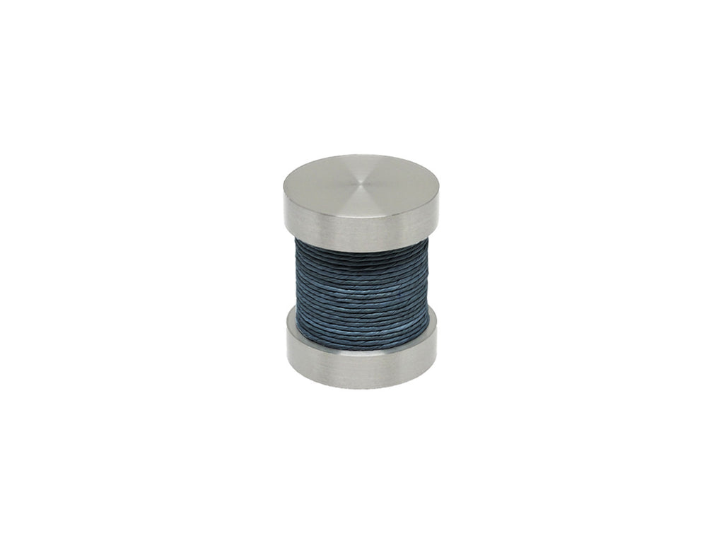 Orca dark blue coloured twine groove finial | Walcot House 30mm stainless steel collection