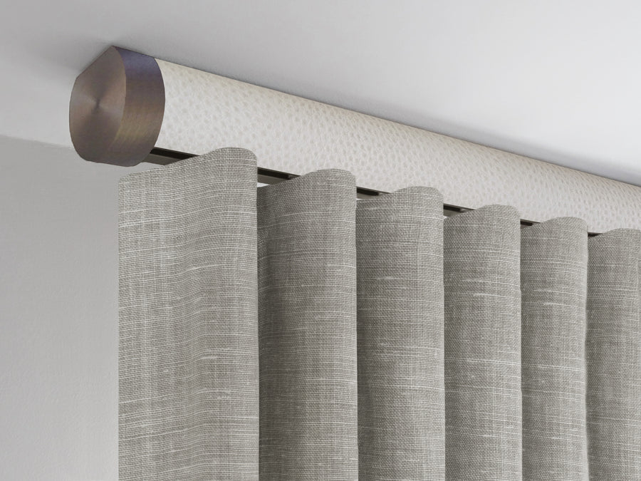 Flush ceiling fix white curtain pole with hidden track by Walcot House