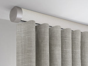 Flush ceiling fix tracked curtain pole in white ostrich