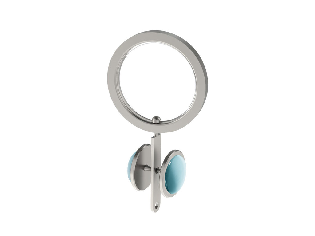 Pale Aqua blue coloured glass moonstone rivet | Walcot House rivet curtain heading for 30mm poles