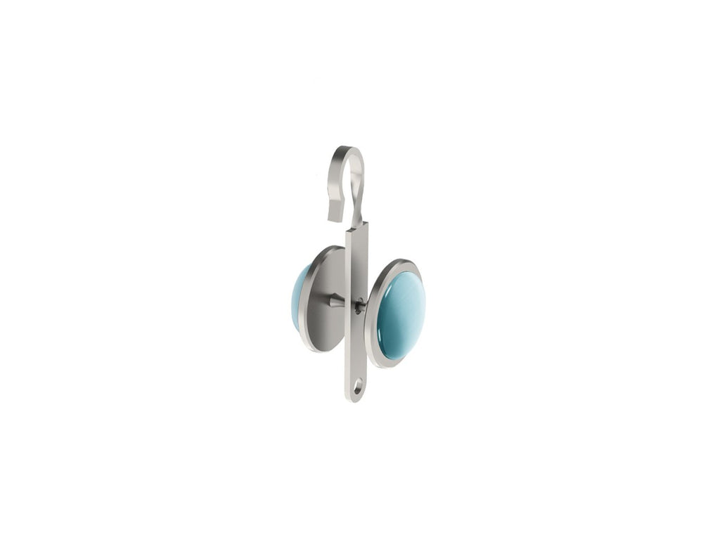 Pale Aqua coloured glass moonstone rivet | Walcot House rivet curtain heading for 50mm tracked poles