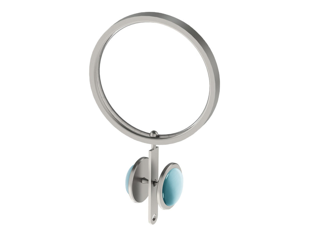 Pale Aqua coloured glass moonstone rivet | Walcot House rivet curtain heading for 50mm poles