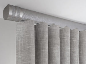 Flush ceiling fix curtain pole set in pebble by Walcot House