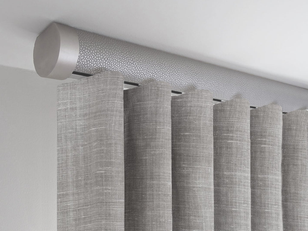 Flush ceiling fix curtain pole in pebble grey by Walcot House