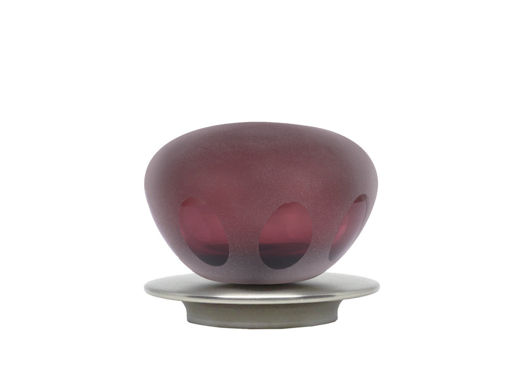 hand blown glass plum lunar finial for 50mm curtain pole