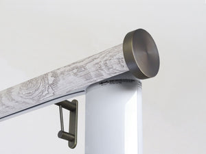 Motorised electric curtain pole in driftwood pumice grey, wireless & battery powered using the Somfy Glydea track | Walcot House UK curtain pole specialists