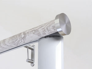 Motorised electric curtain pole in pumice grey driftwood, wireless & battery powered using the Somfy Glydea track | Walcot House UK curtain pole specialists