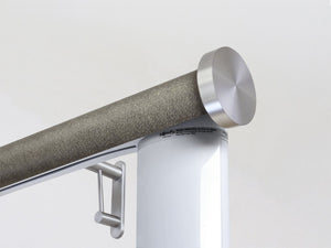 Motorised electric curtain pole in purbeck, wireless & battery powered using the Somfy Glydea track | Walcot House UK curtain pole specialists