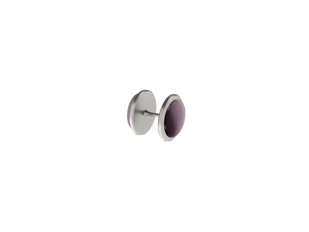 Mulberry purple coloured glass moonstone snap rivet | Walcot House rivet pleated curtain heading