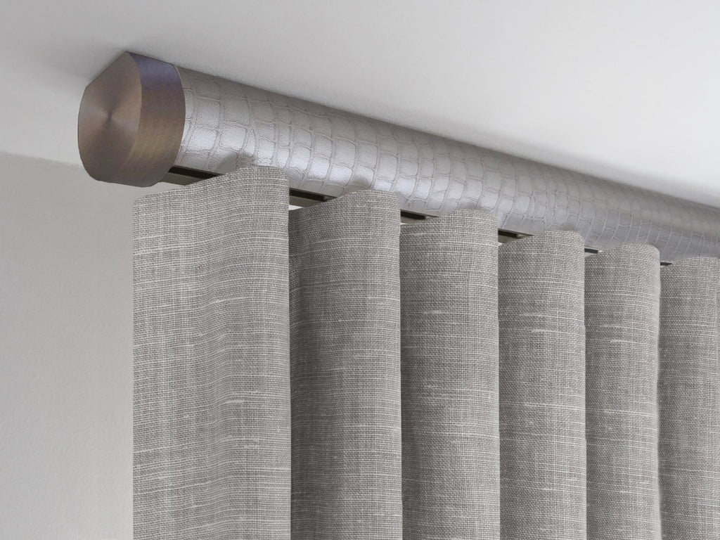 Ceiling fix tracked pole in rose pewter silver with bronze end cap finials by Walcot House
