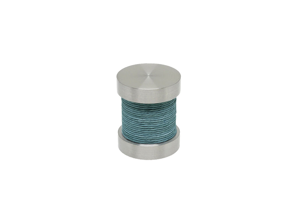 Sea Grass blue coloured twine groove finial | Walcot House 30mm stainless steel collection