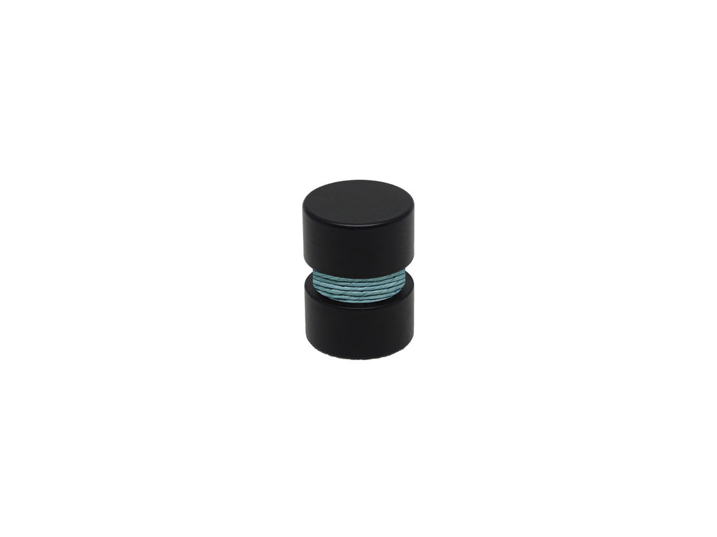 seagrass turquoise curtain pole finial, black groove, for 19mm diameter curtain pole