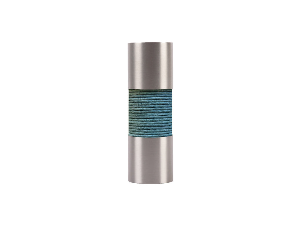 Seagrass turquoise curtain pole finial, stainless steel barrel, for 19mm diameter pole